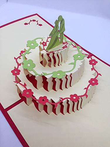 BC Worldwide Ltd handgemachte 3D Pop-up Hochzeitskarte, Hochzeitstorte, Braut Bräutigam Kerze, großer Tag bester Freund Familie Papercraft Laser geschnitten Origami Kirigami Geschenk Partei