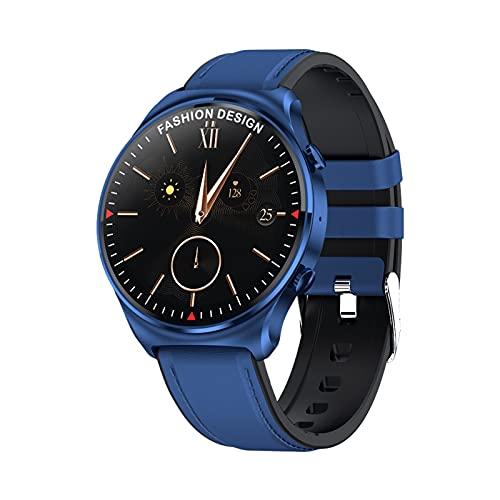 Hombres mujeres Reloj inteligente, pantalla táctil de 1.32in con respuesta de llamada rastreador de actividad física Bluetooth almacenamiento de música, deportes música reloj para Android iOS, azul