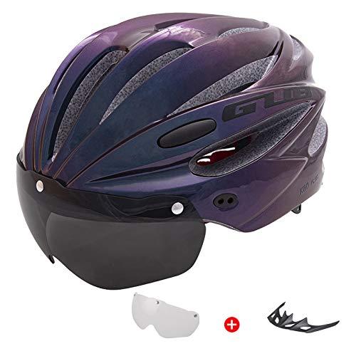 QMMD Casco Bicicleta Unisex Adulto Unisexo Ajustable 58-62 cm con Visera Desmontable Protección de Seguridad Ajustable Deporte Ligera para Montar en Bicicleta,Púrpura