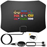 Digital TV Antenna 150 Miles Amplifier Signal Booster Indoor Long Range HDTV Support 4K 1080P UHF VHF Local Channels with Coax Cable and USB Power Adapter