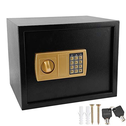 Caja Fuerte de Cerradura Electrónica con Llave 30 x 30 x 38 cm Caja de Seguridad de Contraseña de 3-8 Dígitos para Joyas, Facturas, Documentos, Efectivo