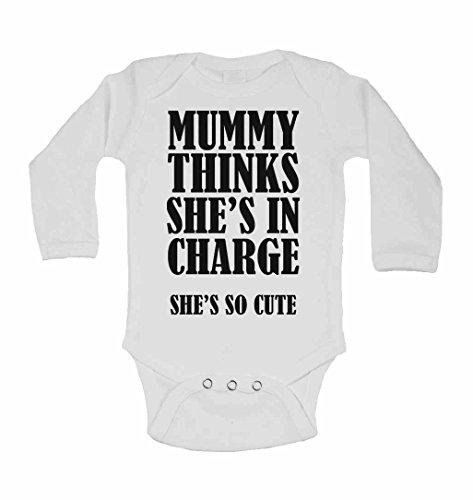 momie pense qu'Elle est en charge She's so Cute – Neuf personnalisé bébé à manches longues gilets bodies bébé SE Développe pour – garçons, filles – Blanc – 2–3 ans