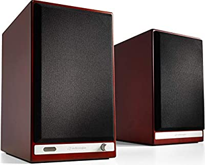 Audioengine HD6 150W Wireless Powered Bookshelf Speakers | Built-in USB 24-Bit DAC & Analog Amplifier | aptX HD Bluetooth, S/PDIF Optical, RCA and 3.5mm inputs | Cables included (Cherry) from Audioengine