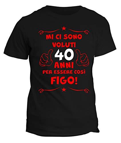 fashwork Tshirt 40° Compleanno Mi Ci Sono Voluti 40 Anni per Essere così Figo - Maglietta Compleanno Idea Regalo