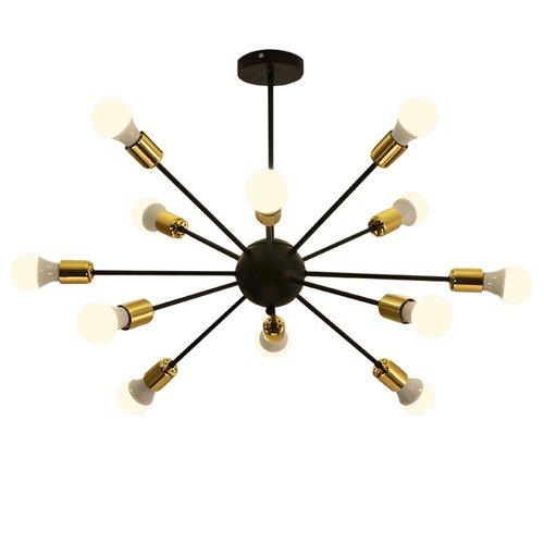 Hines Industriel Vintage Style Semi Flush Montage Plafonnier Luminaire avec Support Fini Noir Or Socket pour Intérieur Café Bar Restaurant Entrepôt utilisent 12 Ampoules E27