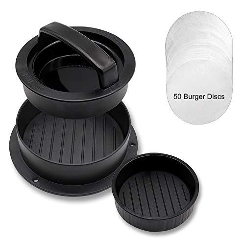 CCUCKY Pressa per Hamburger 3-in-1 con Dischi Antiaderente da 50 Pezzi in più,Hamburger Muffa,Stampo per Burger Farciti Ideale per Fare Polpette di Cheeseburger a Casa