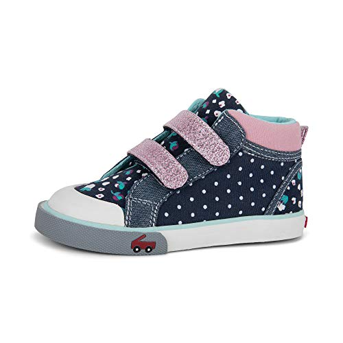 See Kai Run, Girl's Kya High-Top Casual Sneaker for Toddlers and Kids, Navy Dot Mix, 11