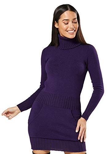 Glamour Empire. Damen Strickkleid Minikleid mit Stehkragen und Tasche vorne. 178 (Lila, 36-38, ONE Size)
