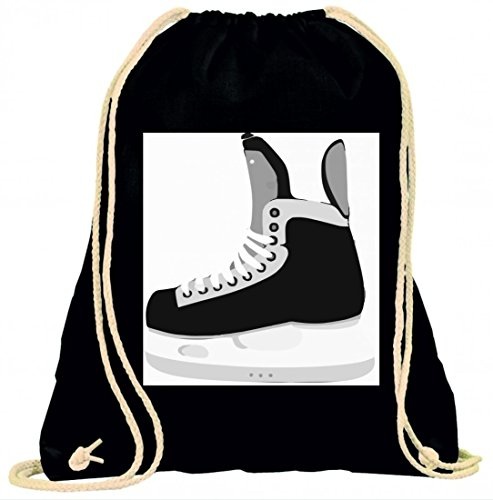 Druckerlebnis24 Turnbeutel Schlittschuhe- Eishockey- Wintersport mit Kordel - 100% Baumwolle- Gymbag- Rucksack- Sportbeutel
