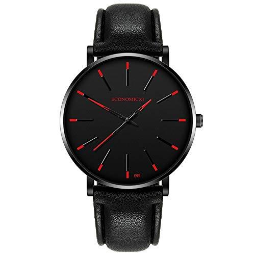 Cuitan Hombres Mujeres Moda Fecha de Acero Inoxidable de Acero Inoxidable Sport Reloj de Pulsera de Cuarzo de Lujo Reloj de Pulsera de Lujo Moda Moda Chronograp(Rojo)