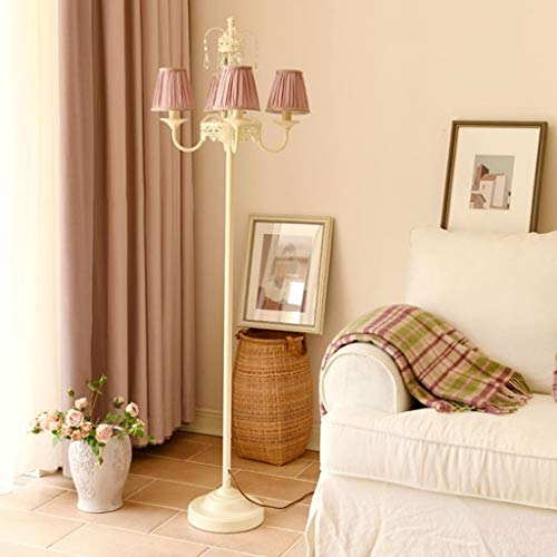 Nordic LED-vloerlamp, retro woonkamer slaapkamer hotel kristal decoratieve kaarslamp E14 * 4 M20-03-05