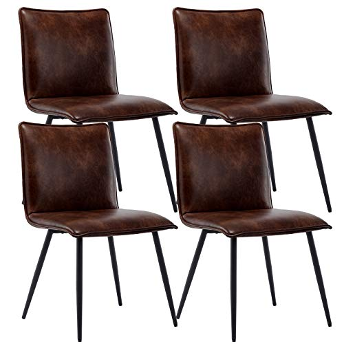 Duhome PU Leather Dining Chairs Kitchen Chairs Set of 4 Side Chair for Dining Room Living Room Dark Brown