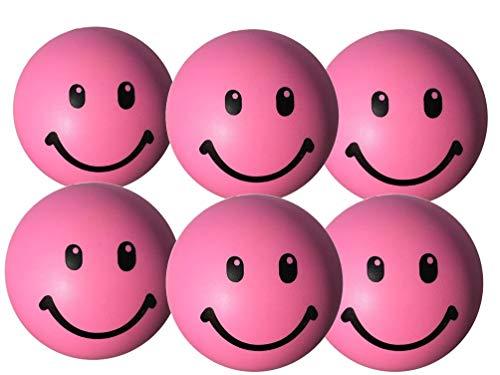 Stressballs 6 x Rosa – Smiley Stress Ball - Antistressball ,Stressballs, Knautschball – Kleiner Ball, Grosse Stresserleichterung