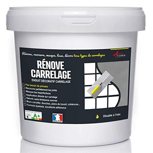 Putz für Fliesen - Fliesen verputzen - Betonbeschichtungs-Effekt - RENOVE CARRELAGE - Eisen - Kit 20kg - 13m² für 2 Schichten