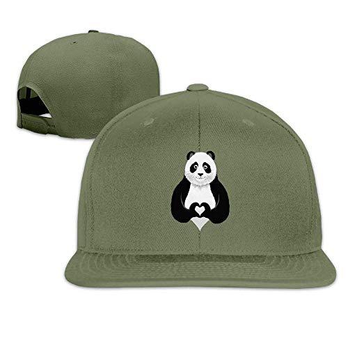 Ccsoixu Funny Panda Show Heart Snapback Unisex Adjustable Flat Bill Visor Dad Hat