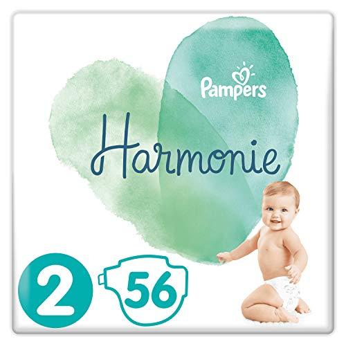 Pampers - Pañales Harmonie tamaño 2 (4 a 8 kg), 0 % de compromiso, 100 % de absorción, ingredientes de origen vegetal, hipoalergénicos, 56 capas
