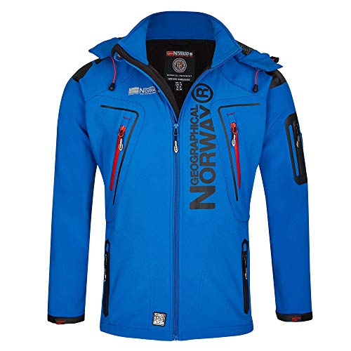 Geographical Norway Herren Softshell Funktions Outdoor Jacke wasserabweisend im Bundle mit urbandreamz Beanie (XXL, Royal TN)