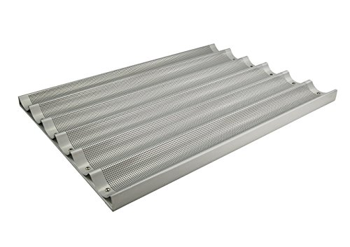 Winco ABP6L 18 x 26Inch 6 Slot Long Aluminum Baguette Pan Baking French Bread Pan Perforated Loaf Pan NSF