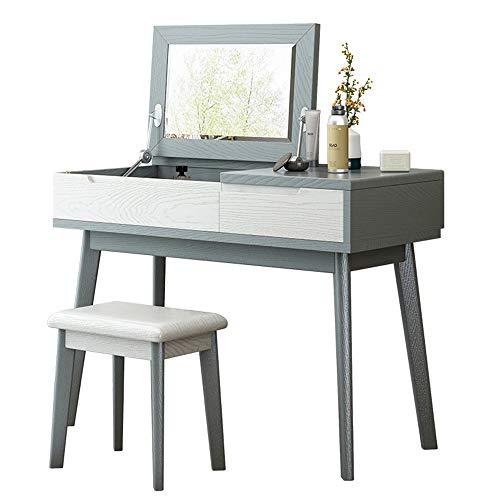 2 EN 1 vanidad del maquillaje de escritorio Aparador moderno minimalista Tabla de maquillaje con el espejo cajón de almacenamiento mujeres de las muchachas Mobiliario de dormitorio tocador (gris y neg