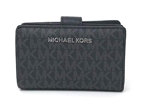 Michael Kors Jet Set Travel PVC Signature Bifold Zip Coin Wallet Clutch