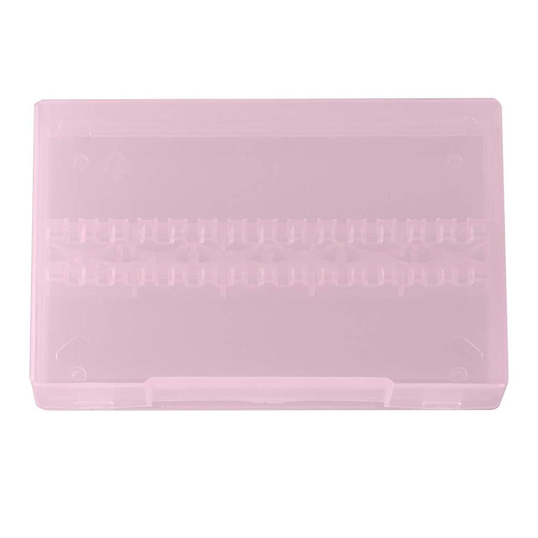 通りシンプルなホバーネイルドリルボックス、14穴プロフェッショナルネイルアート研磨研削ドリルビットホルダーディスプレイ収納ボックスコンテナ(ピンク)