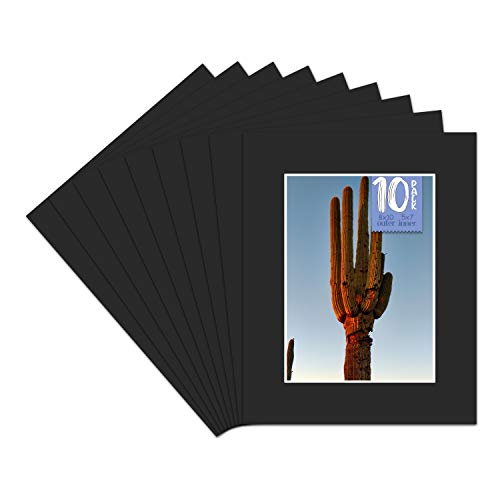 Golden State Art, 4 Ply Thickness 8x10 Photo Mat with 5x7 Opening, Signature Friendly - Great for Weddings, Baby Showers, Birthdays (Set of 10, Classic Black Color)