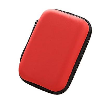 Baorio Square Earphone Bag Case Box Portable Carry Headphones Memory Card U Disk Box In Ear Zipper Earphone Storage Case Bag Headphone Accessories Key Holder Cable Organizer Red from Baorio