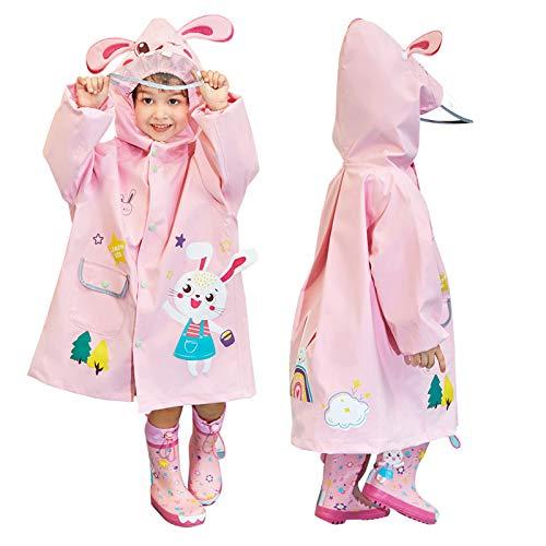 JinBei Impermeable para Niñas Conejo 3D Rosa Chaqueta Encapuchado Chubasquero Reutilizable Niña...