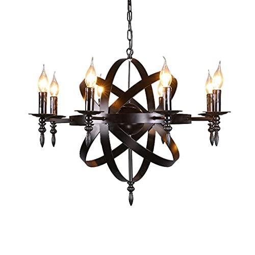 Dkdnjsk Industrial labrado araña e14 loft lámparas nórdicas retro estilo industrial labrado hierro araña globo sala sala de estar sala de estar araña lámpara de lámpara lámpara de araña iluminación de