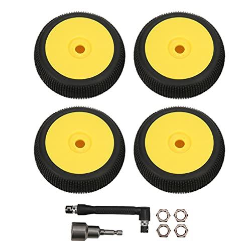 VGEBY Neumáticos Y Ruedas Delanteros Traseros RC De 4 Piezas con Hexágono De 17 Mm para Piezas De Actualización De Coches Todoterreno RC 1/8(Amarillo)