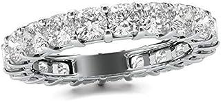 ARGENTO REALE Anillo de eternidad chapado en oro blanco para mujer, anillo de eternidad, anillo apilable para mujer