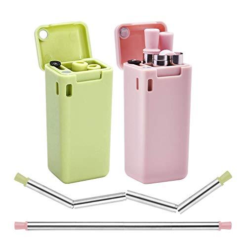 CLONIC 2 cannucce in acciaio inox, riutilizzabili, in metallo, pieghevoli, con spazzola per la pulizia, ideali per frullati, bevande calde e fredde, casa e viaggio (rosa e verde)