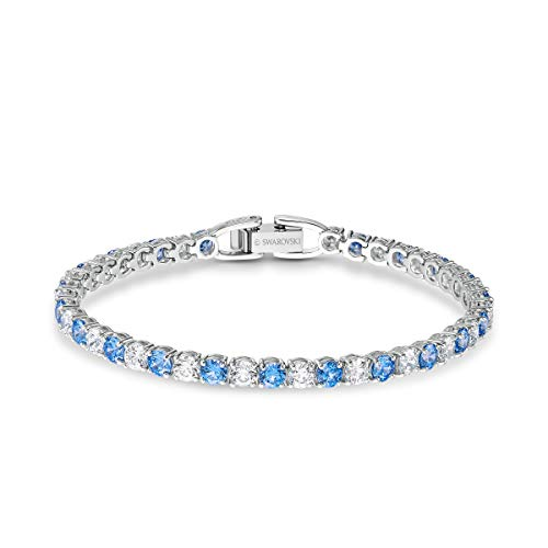 Swarovski Women's Tennis Deluxe Bracelet, Brilliant Light Blue and White Stones, Rhodium Plating, Swarovski Tennis Deluxe, 125 Anniversary Collection