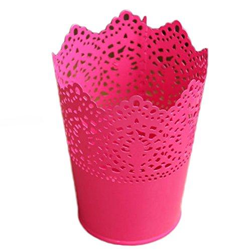 Dosige Pots de Fleurs en Métal Vase à Fer Conteneur Floral Creux Fleurs Pots Décor pour Bureau Maison Jardin - Rouge