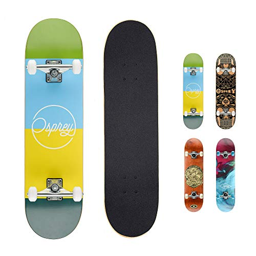Osprey Complete Skateboard, Double Kick Trick Board for Adults, Kids and Teens, Multiple Designs