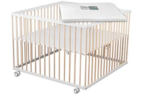 Sämann® Laufgitter Basic 100x100 cm weiß/natur mit Matratze, höhenverstellbar, Buche Laufstall