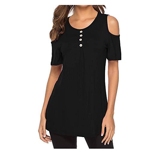NOBRAND - Camiseta de manga corta para mujer, cuello redondo, con botones y hombros descubiertos