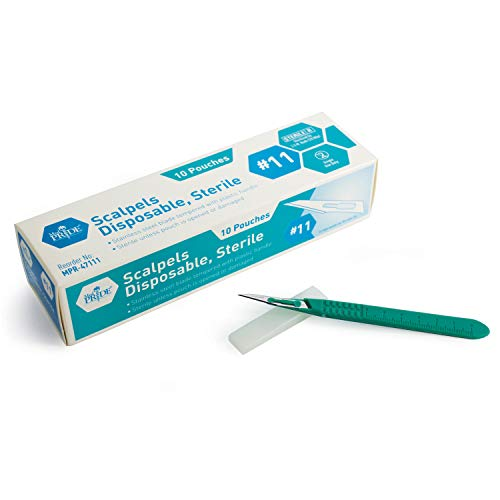 Medpride Disposable Scalpel Blades  #11 Sharp, Tempered Stainless-Steel Blades   Pack of 10 Sterile Scalpel Knives  Plastic Handle  Individual Pouches  for Dermaplaining, Podiatry, Crafts & More