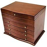 ジュエリーボックス ミラー付き 大容量 ネックレス収納 木製 おしゃれ 4段 プラス たっぷり収納 フェルト貼り ブラウン