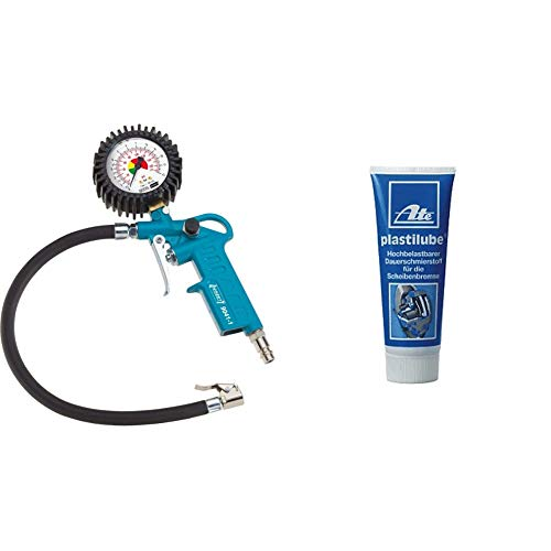 HAZET Reifenfüll-Messgerät (Manometer-Messbereich 0-12 bar, Schlauchlänge 400 mm, Manometer-Durchmesser: 63 mm) & ATE Hochbelastbareer Dauerschmierstoff für die Scheibenbremse Plastilube, 75 ml