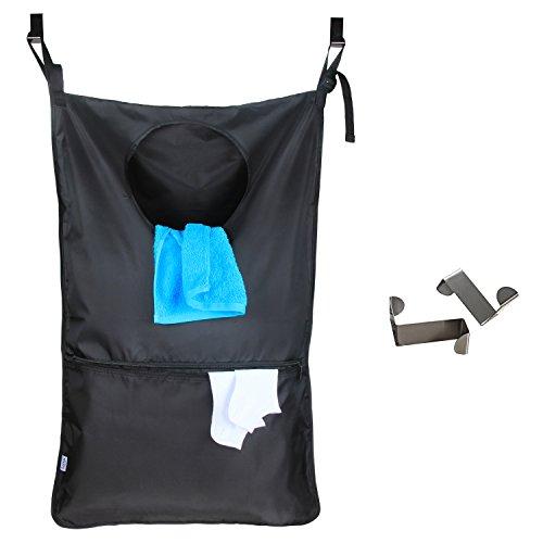 Luxja Bolsa Ropa Sucia Colgar, Bolsas para la Colada con 2 Ganchos de Puerta de Acero Inoxidable Extra, Bolsa de cesto de lavandería, Negro