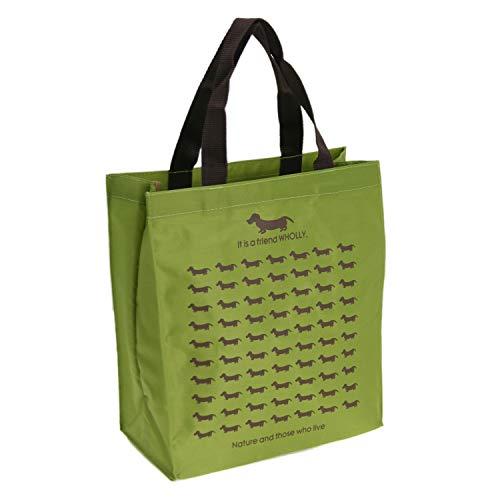 優美社 エコバッグ 犬柄 グリーン 約縦29×横27×マチ12cm WHOLLY A4 サイズ も持ち運べる 買い物袋 3L12-01