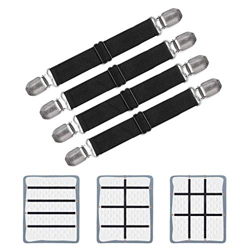 Adjustable Bed Sheet Clips, Sheet Fasteners Holder Straps and Suspender, Gripper, Extend From 21' to 80' Long Style Elastic Fasteners Bands Heavy Duty Suit for Mattress, Sofa, Couch, Recliner and More