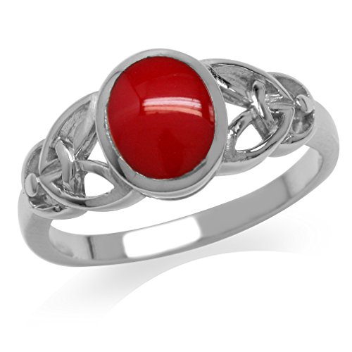 Silvershake Created Red Coral Inlay White Gold Plated 925 Sterling Silver Celtic Knot Ring Size 6