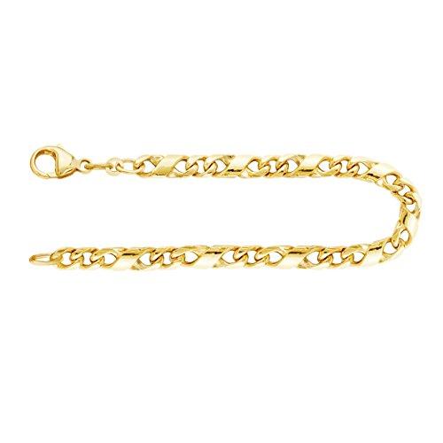 Echtgold Armband Herren Gold 4.9 mm, Dollarkette 585 aus Gelbgold Goldarmband mit Stempel und Karabinerverschluss, Länge 19 cm, Gewicht ca. 13.5 g, Made in Germany
