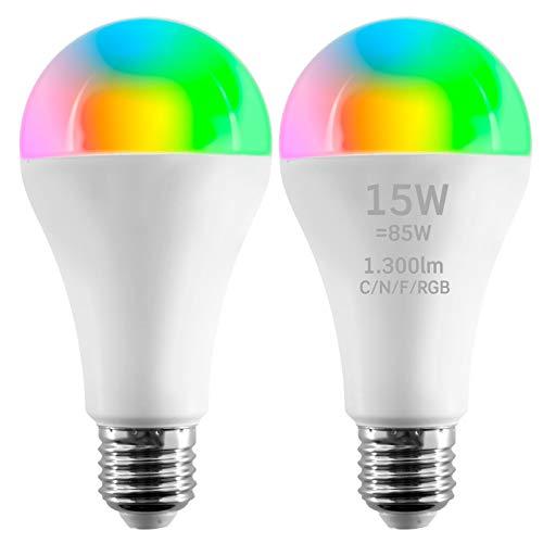 2x Lampadine LED Smart Wifi E27 15W Alexa Google Dimmerabili Opaca (1300 lumen pari a 85W) Goccia Luce Bianchi + RGB Fascio Luminoso 200° - Eurocali
