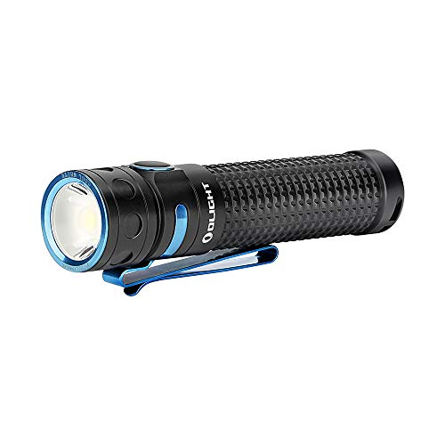 Olight® Baton PRO 2000 Lumens Rechargeable LED Flashlight with High Performance CW LED, Customized 3500mAh18650 Battery Included with Magnetic Charging Cable, Pocket Sized Side-Switch Light for Camping Bundled with Olight Patch