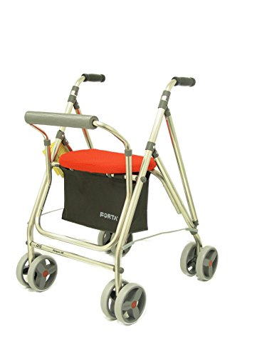 Forta fabricaciones - Andador de 4 ruedas para ancianos Kanguro FORTA - Kanguro HD, Naranja 🔥