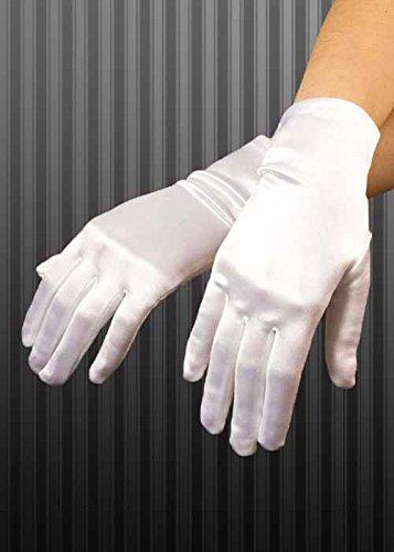 Dames des années 1920 à court gants de Satin blancs
