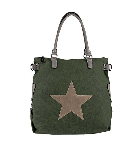 OBC Only-Beautiful-Couture, Borsa tote donna Verde Grün-Taupe 48x40x15 cm (BxHxT)